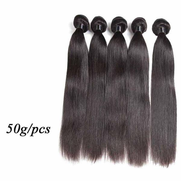 Cheap Human Hair Extensions Straight Body Wave 50g/pcs Brazilian Virgin Hair Weaves 5/6 Bundles Lot Nature Black Color Human Hair Weft