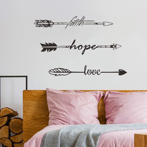 Faith Hope Love Wall Sticker Quotes Vinyl DIY Family Lettering And Words Wall Art Arrow Decals For Living Room Bedroom Decoration Walls Decals Walls