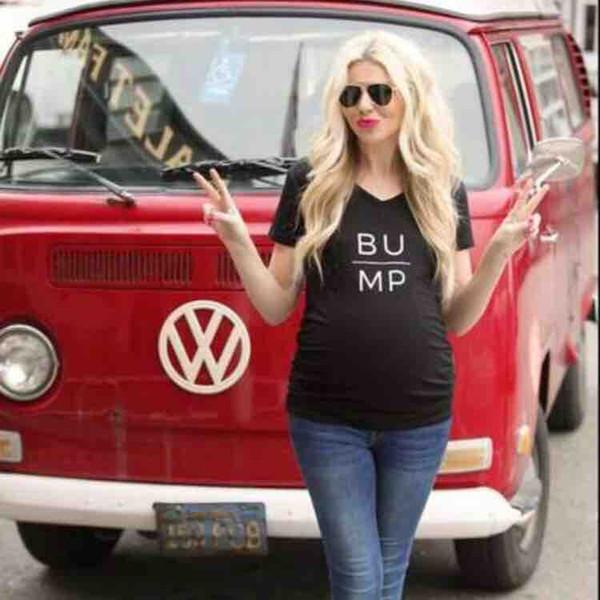 Lustige Schwangerschaft T-Shirt BUMP Tees Kurzarm schwarz Mutterschaft schwangere Frauen Kleidung Buchstaben Slim All-Matched 2019 Sommer DHL