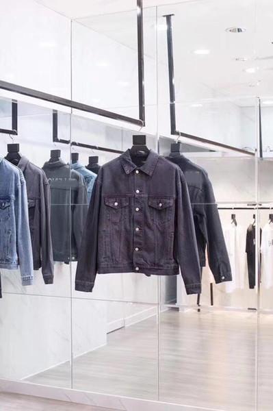 2019 Camicia cowboy Turn-down-collare denim manica lunga camicia da uomo Jersery EmbroideryCasual shirt della moda di New Estate 688