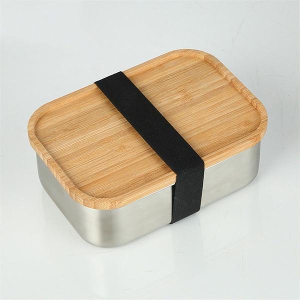 Lancheira de aço inoxidável prática do quadrado do recipiente do sushi 800ml com tampa de madeira Caixas simples de Bento do estudante 38ns E1