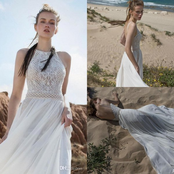 2019 New Limor Rosen Sexy A Line Open Back Wedding Dresses Halter With Chiffon Striped Skirt Over Nude Lining Bridal Gowns BC0463