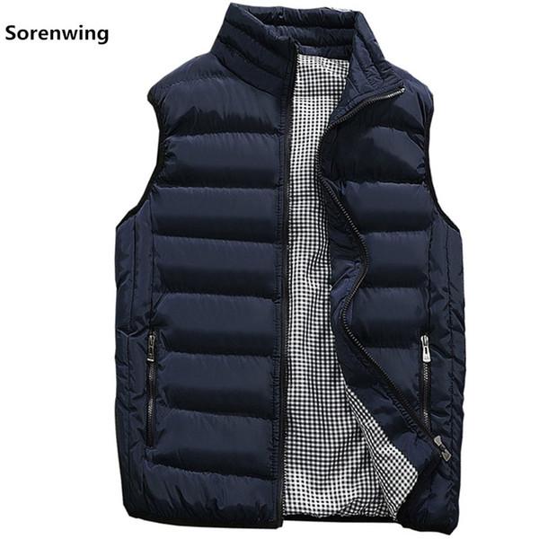New Vests Men Brand Mens Sleeveless Jacket Cotton-Padded Men's Vest Autumn Winter Casual Coats Male Waistcoat 5XL Plus Size 9999