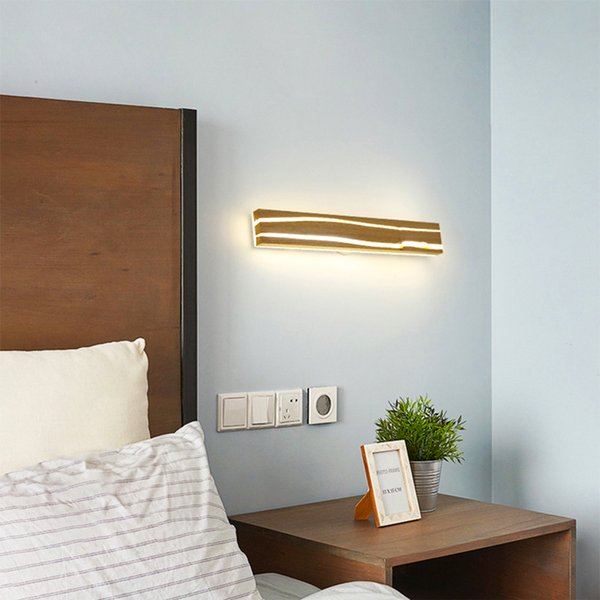 modern nordic solid wood led wall lamp bedside night light bedroom living room aisle sconce light fixture wall decor art