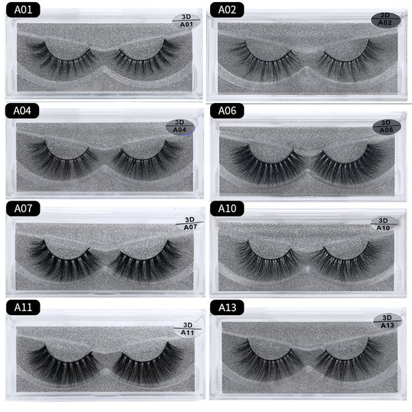 Hand made 3d Mink Eyelashes Natural Messy thick False Lashes Plastic Cotton stalk 15 styles Free shipping