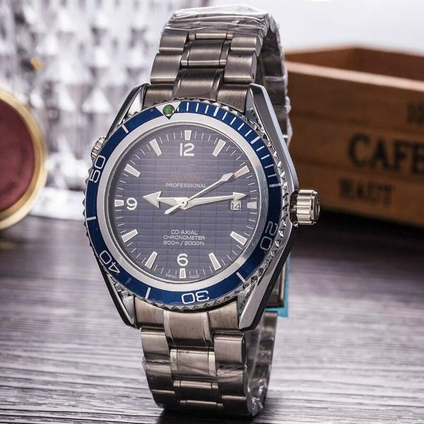 All steel Watches Men luxe Watch Mechanical chronograph BLACK ORANGE BLUE Rotate Bezel silver bracelet Automatic auto date Mens Sports Wrist