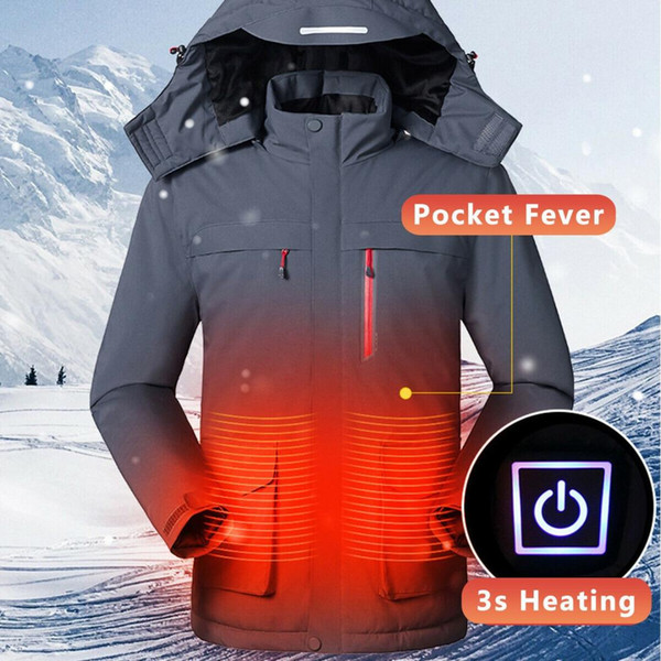 fashion winter men's ski clothing solid color smart usb electric heating warm down zipper coat breathable warm winter equipment