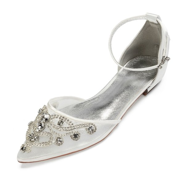 Zarif gelin düğün düz ayakkabı sivri burun ayak bileği kayışı kristal aplike örgü saten abiye daireler parti balo kızın dansı