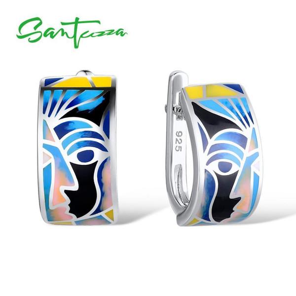 Santuzza Silver Earrings For Women 925 Sterling Silver Face Earrings Ladies Party Fashion Jewelry Colorful Enamel Handmade T7190617