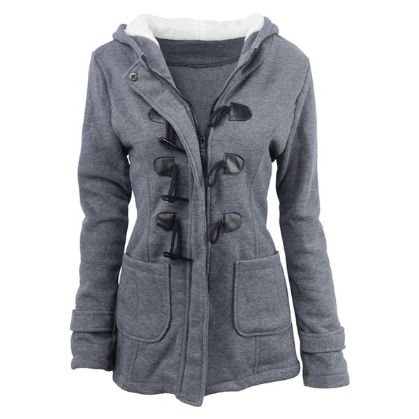 MAISHIMINI Winter Claw Clasp Womens Wool Blended Classic Pea Coat Jackets Pocket Warm hooded Clothes Coats Grey/Black/army green