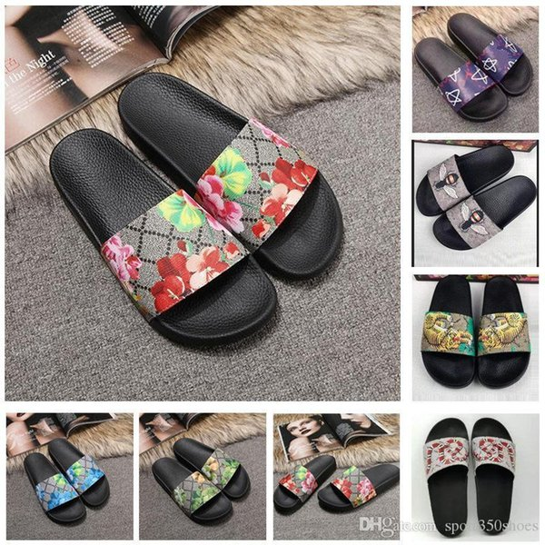 2019 top männer frauen sandalen designer schuhe luxus rutsche sommer mode breite flache rutschige sandalen pantoffel flip flop größe 35-46 blumenkasten