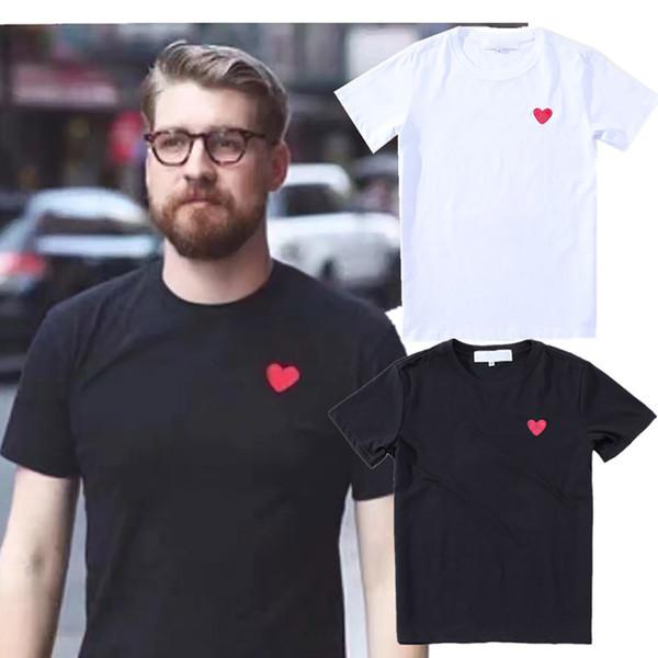 Дизайнер Мужчины футболка Luxury Private Пользовательского PIAY Small Red Heart вышивка пара с футболкой улица хип-хоп хлопок бренд с коротким рукавом
