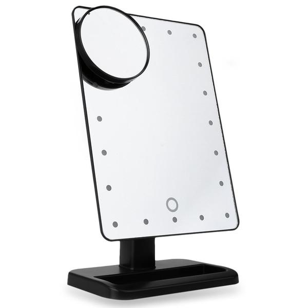 Tabella Portable 20 LED luminoso lampada specchio cosmetico portatile di viaggio compatto Pocket Mirror Mirror trucco con luce del LED Trasporto libero AB