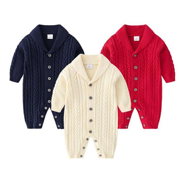 Bambino dei vestiti del ragazzo monopetto infantile lavorato a maglia pagliaccetti couverture Collare Newborn ragazzi delle tute Solid Clothes Climbing caldi 3 colori