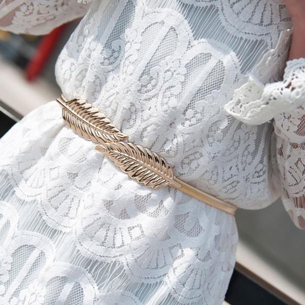 Leaf Shape Belt Metal Leaves Cummerbund Clasp Front Stretch Waistband Gold Silver Elastic Waist Belt Leaves Chain Belts