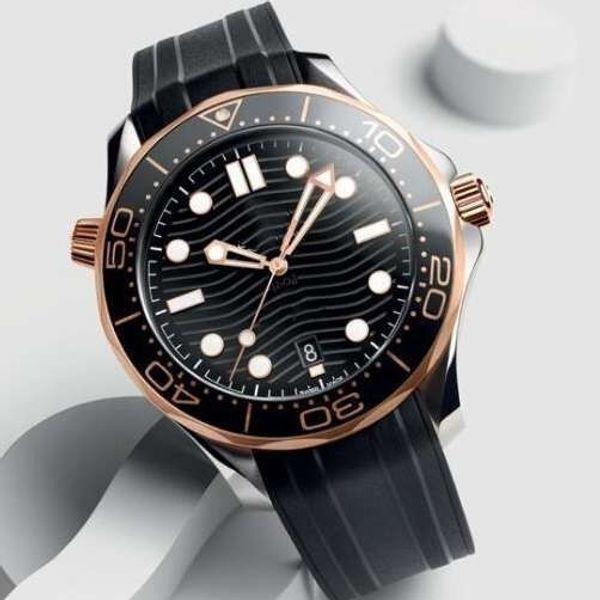 Cinta De Borracha de Ouro Rosa Homens De Aço Inoxidável Automático de Luxo Mens Relógios Designer de Relógio Profissional Mergulhador 300 M Mestre NATO Relógios De Pulso