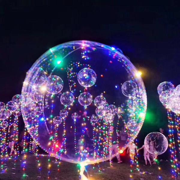 Balões LED Night Light Up Brinquedos Limpar Balão 3 M Luzes Da Corda Flasher Bolas Bobo Transparente Decoração Do Partido Balão CCA11729 100 pcs