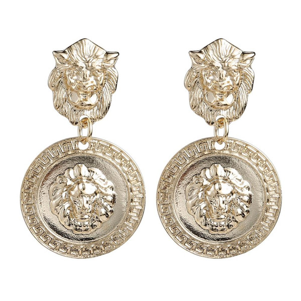Vintage Neo-Gothic Metal Lion Head Charms Dangle Earrings For Women Jewelry Trendy Statement Earrings Accessories Hot Sale