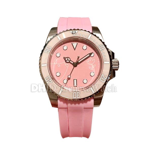 Pink Luxury Women Watches Sapphire Caja de acero inoxidable 316L Correa de caucho Reloj automático 38mm relojes para dama reloj de lujo montre de luxe