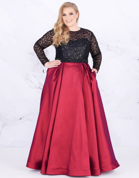 2020 New Dark Red Plus size Evening Prom dresses Lace Sequins With Pockets  Satin Long Sleeves Cheap Plus Size Special Occasion Dresses