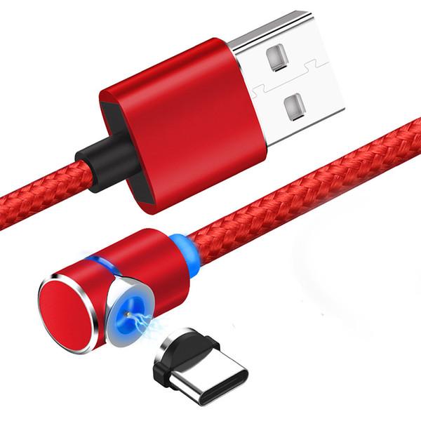 Codo giratorio Cable de línea de datos magnéticos Micro USB Tipo-C Cables de cargador Imán de carga universal para Android Cable de cable de teléfono