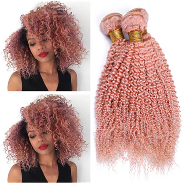 Virgin Malaysian Human Hair Pure Pink Kinky Curly Weave Wefts 3Bundles Light Pink Kinky Curly Virgin Remy Human Hair Extensions Wefts