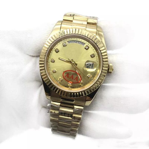 Nuevo reloj para hombre 18K Gold President Sapphire Cystal Diamond Number Hombres Relojes Movimiento mecánico automático Reloj de pulsera masculino