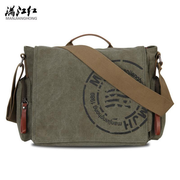 Manjianghong Vintage Mens Messenger Bags Canvas Shoulder Bag Fashion Men Business Crossbody Bag Printing Travel Handbag