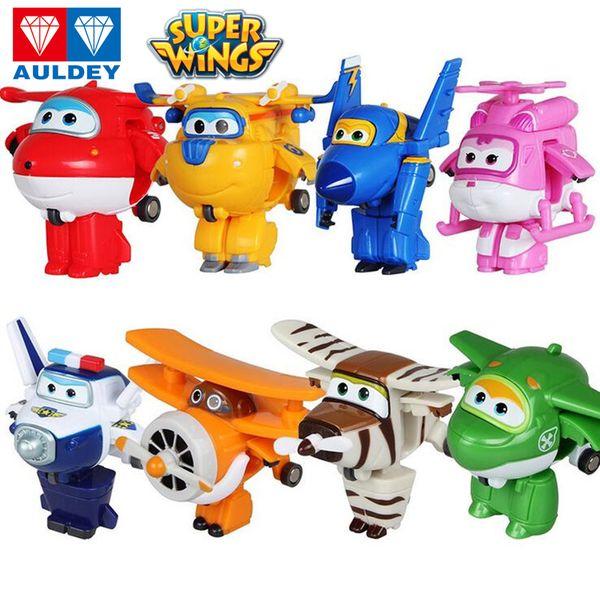 top popular AULDEY Super Wings Robots 8 Step Transforming Airplane Action Figures 15cm Big Animation Kids Boy Girls Brand 23 Designs Desformation Toys 2021