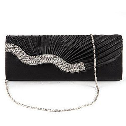 FGGS Handbag Evening Clutch Wallet Fabric baguette Type Satin Pleated with Serti Waterfront Strass White