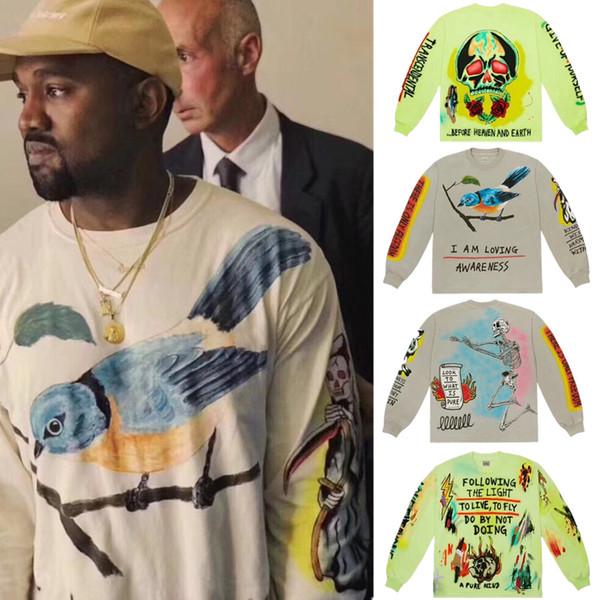 Kanye West niños ven fantasmas Graffiti Hombres con capucha de cuello redondo con capucha Hip-hop de moda que llegaban nuevos Urraca Streetwear