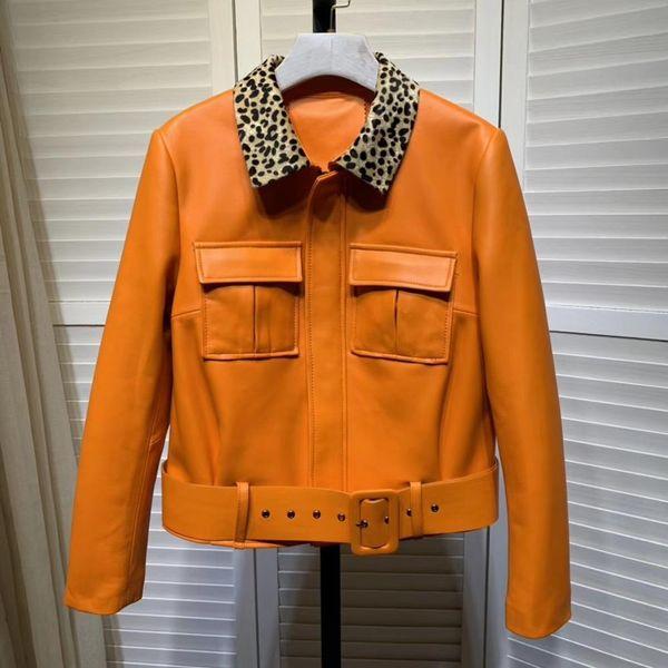 women's pockets leather jackets 2019 spring autumn real leather sheepskin biker jackets women a590