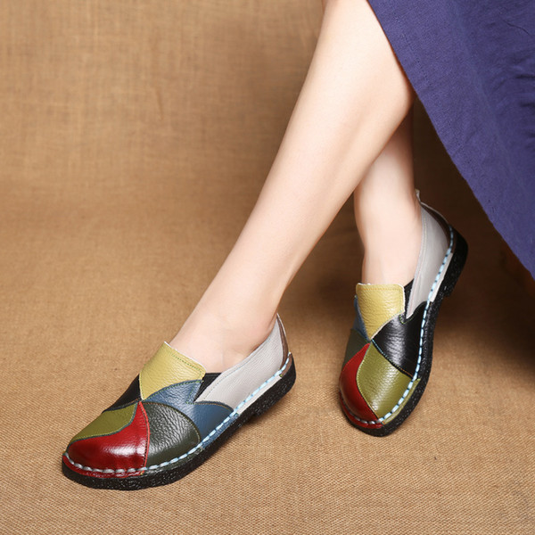 Handmade Leather Soft Shoes National Leather Flats Shoes for Women Casual Female Flats Lady FlowerRound Toe Footwear