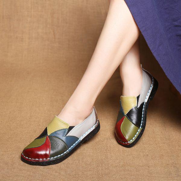Chaussures en cuir souple à la main Chaussures en cuir National Flats pour les femmes précarisés Flats Lady FlowerRound Chaussures Toe
