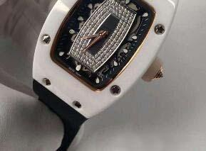 Reloj de lujo Cristal de zafiro AZT Blanco Cerámica Diamantes Reloj automático para mujer Correa de caucho negro Transparente Tapa trasera reloj para mujer