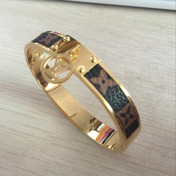 мужчины женщины золото серебро натуральная кожа цветок манжеты браслет браслет титановая сталь браслет 2019 мода любовь марка браслеты изысканные свадебные украшения
