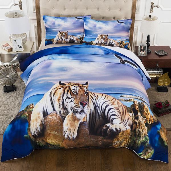 Set di biancheria da letto 3D Stampa Tiger on the Beach 2/3 pezzi con federa per letto matrimoniale completo con letto matrimoniale king size
