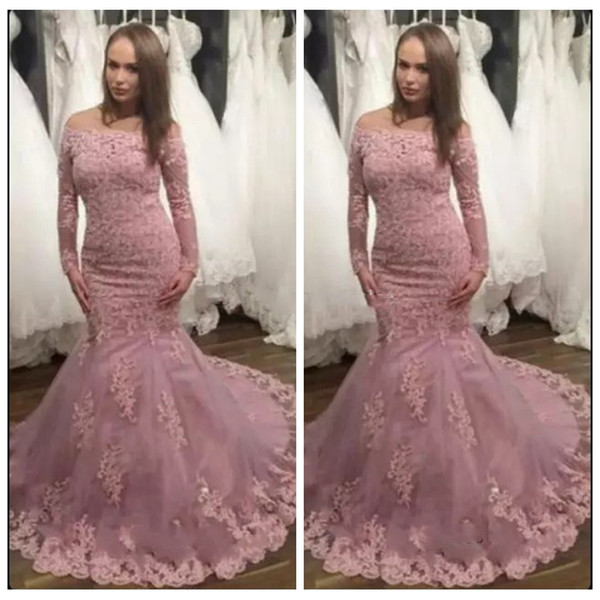2019 Bateau Long Sleeves Mermaid Lace Appliques Prom Dress Lace Appliques Slim Prom Gowns For Special Occasion Dresses Custom Online