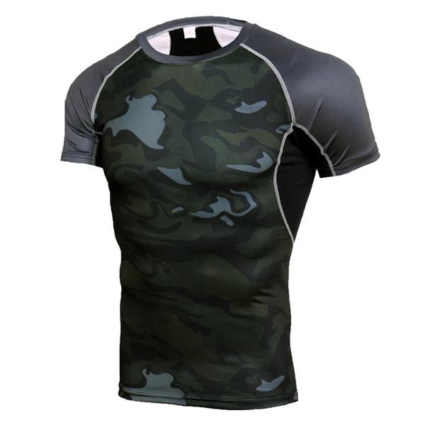 Quick Dry Rashgard Gym Sport Shirt Men Short Sleeve Compression Shirts Fitness Top Soccer Jersey Male Running Shirt Sportswear