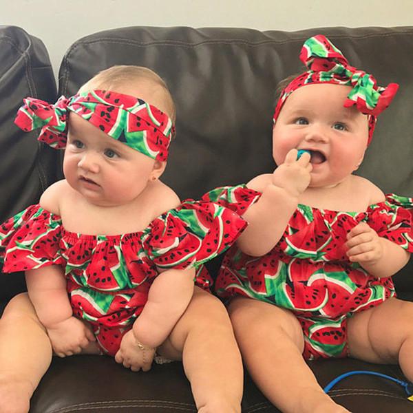 Summer Newborn Infant Baby Girls Bodysuit Toddler Kids Off-Shoulder Watermelon Jumpsuit Girl Headband Playsuit Sunsuit Clothes