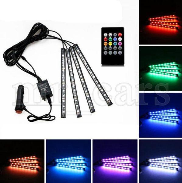 Coche dentro lámpara atmósfera 4 En 148 LED de la decoración interior iluminación inalámbrico de control remoto RGB LED 5050-12smd 12V HHA66