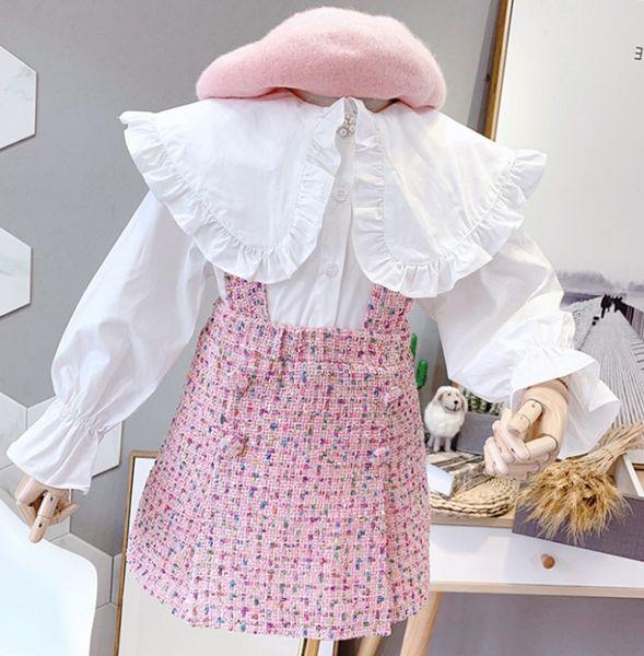 Lady style children princess outfits kids big falbala lapel pearls buckle flare sleeve bottoming shirt+plaid suspener dress 2pcs sets F9664