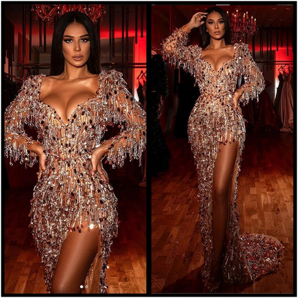 Sexy Side Slit V Neckline Rich Red Carpet Party Dresses Sequins Tassels Evening dress fancy prom Gowns top quality long sleeves Sweep train