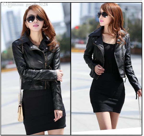 Wholesale-Fashion Fall Winter Faux Leather Women Jackets Black Plus Size Zipper Jackets For Women Casual Women Coats