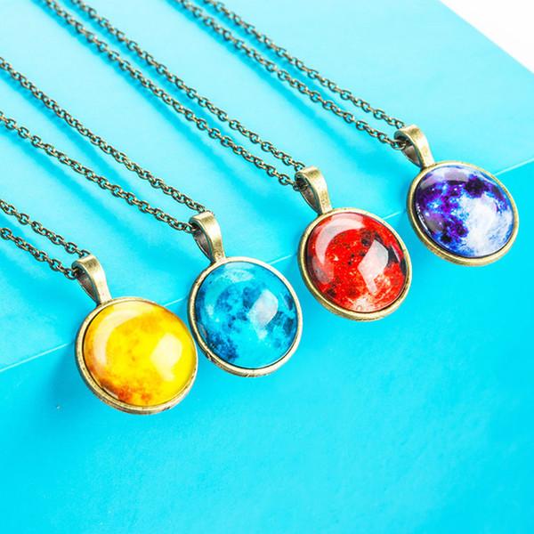 Cielo estrellado Collar sistema solar universo Collar Bola de cristal colgante Joya de tiempo Collar luminoso para regalo de Navidad