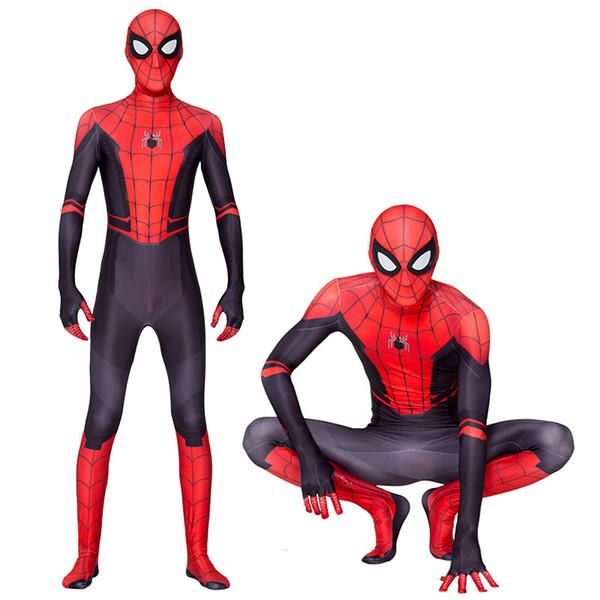 Хэллоуин Человек-паук Far From Home Peter Parker Косплей Zentai Superhero BodySuit Костюм Комбинезоны