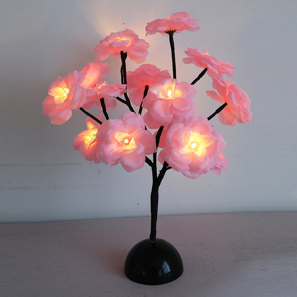 New Product LED Camellia Flower Light Branch Lamp Pendulum Desk Lantern Room Bedroom Shop Decoration Small Night Lampstand Light