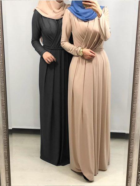 zada Women's Kaftan Dress Solid Color Draping Long Sleeve Arabian Clothing