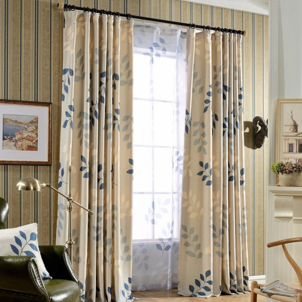 Leaf Printing Blackout Curtains for Living Room Window Curtains for the Bedroom Modern Sheer Blinds Custom Made