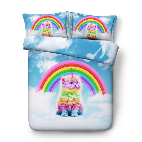 Unicorn Cat Duvet Cover Soft Comforter Cover Pillow Shams Cat Unicorn Bed Rainbow Duvet Covers Blanket Cover Cat Bedspread For Girls